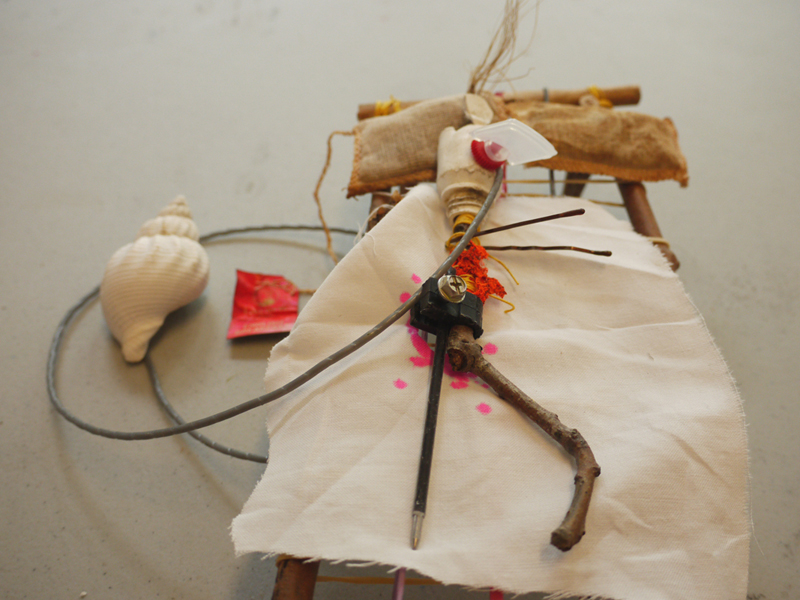 'Resting after op', Mr. Bones series, Made with found objects on Governors Island, 2012