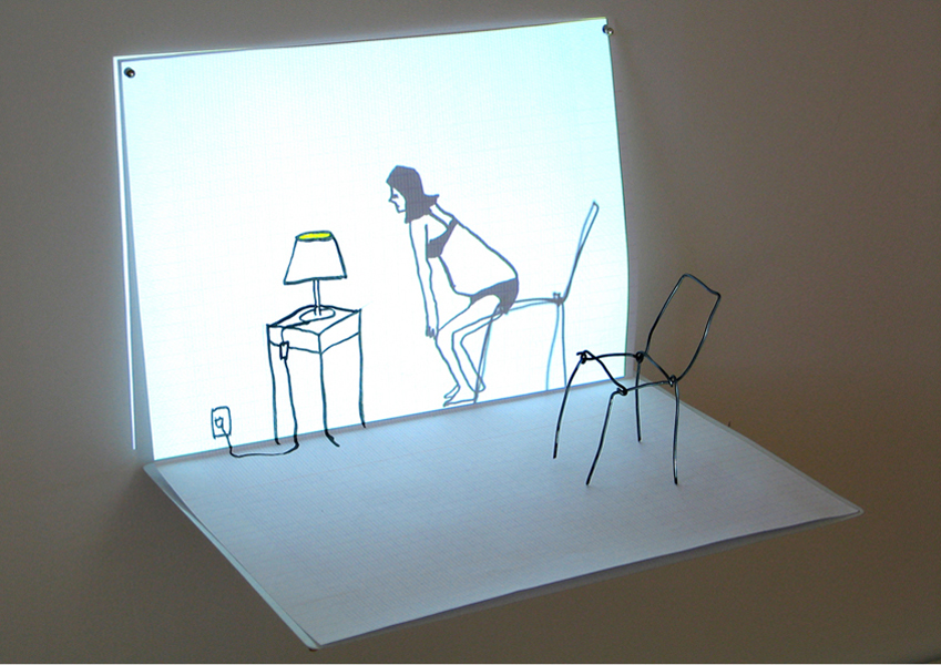 Living Room, looped animation, Video projection, wire, ink on paper, 2008