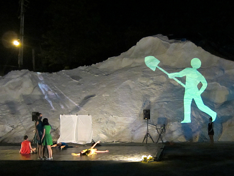 Man at work, 2 frame animation, video projection, Lumen Festival, NY, 2012