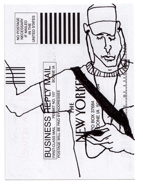 NY100, Ink drawing on subscription card, 6x4 in., 2010