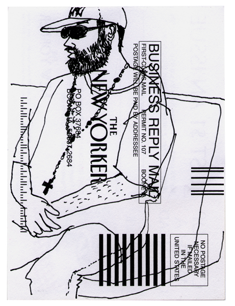 NY67, Ink drawing on subscription card, 6x4 in., 2010