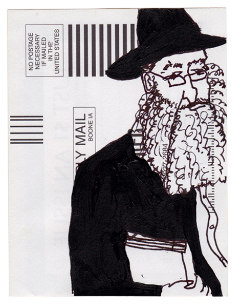 NY69, Ink drawing on subscription card, 6x4 in., 2010