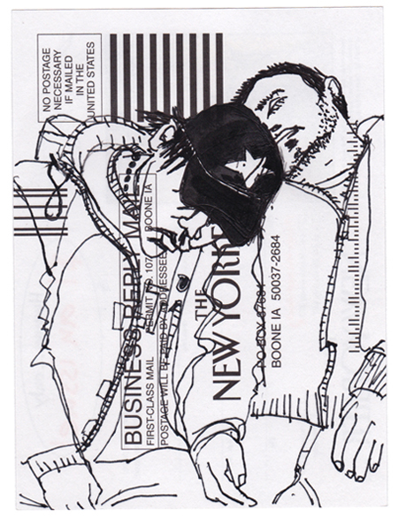 NY88, Ink drawing on subscription card, 6x4 in., 2010