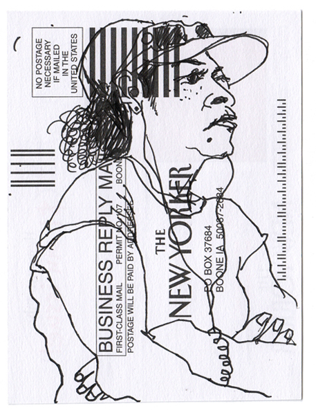 NY93, Ink drawing on subscription card, 6x4 in., 2010