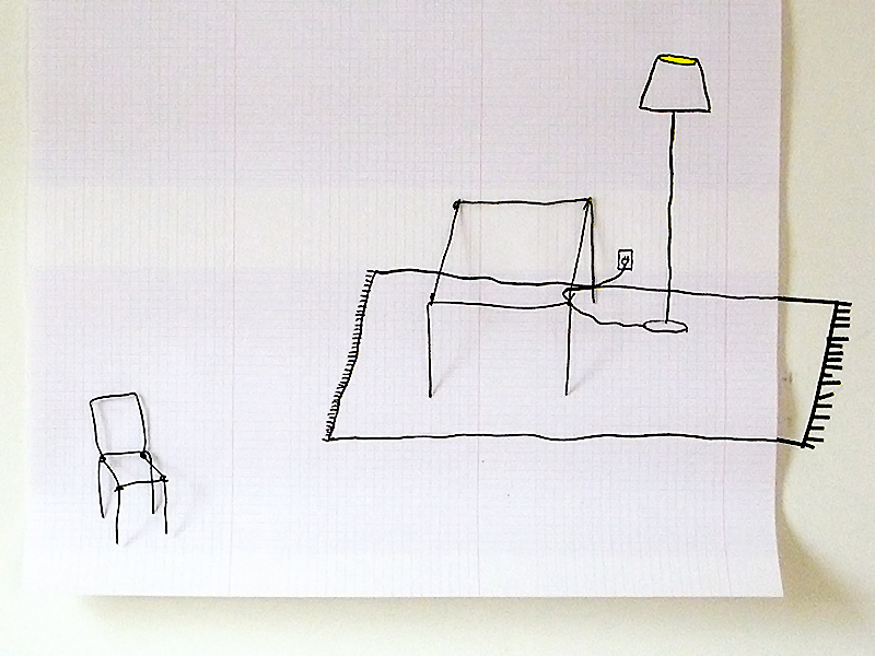 Salon, Ink and wire on paper, 2008