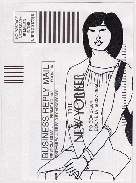New Yorker on the subway, NY85,  Ink on card, 6x4 in., 2010