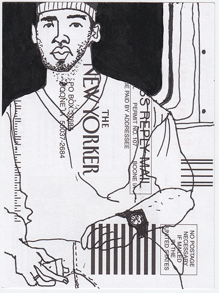 New Yorker on the subway, NY97,  Ink card, 6x4 in., 2010
