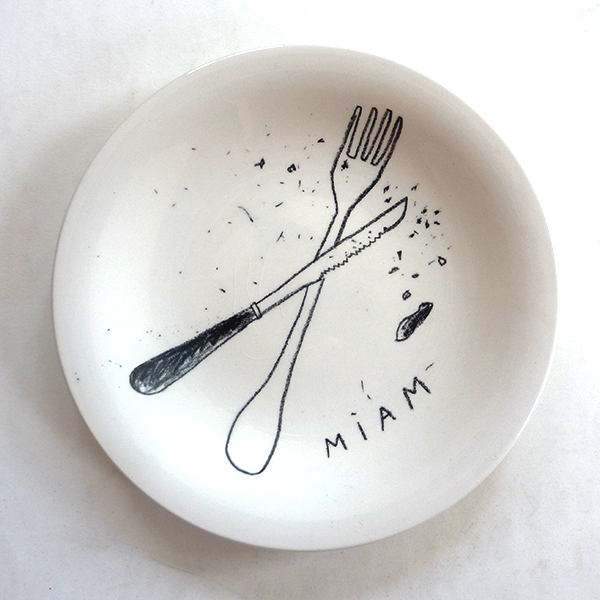 Ceramic pencil, glazed plate, 2013