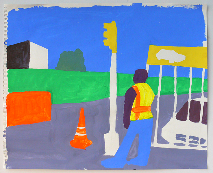East New York #5, Gouache on paper, 2018