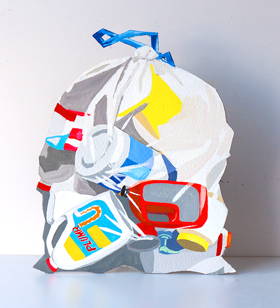 Recycling bag, gouache on recycled cardboard, 24x30 in, 2018