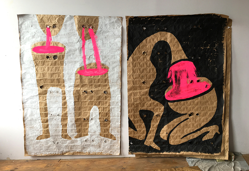 Family Diptych, ink and gouache on found mattress paper, 110x74 in, 2020
