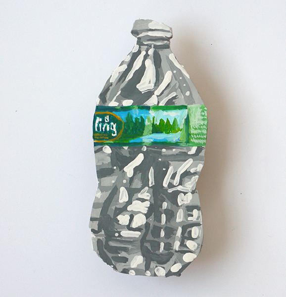 Poland Spring, gouache on recycled cardboard, 10×6 in, 2018