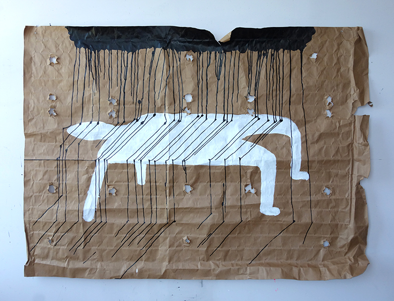 Under the weather, Ink and acrylic on mattress paper, full bed size, 2021