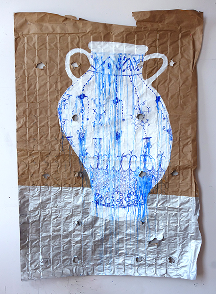 Cruche pleureuse, Ink and acrylic on mattress paper, full bed size, 2021